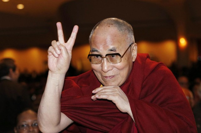 Dalai Lama-Peace Sign